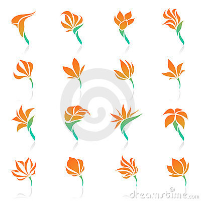 Tropical flowers. Vector logo template set.