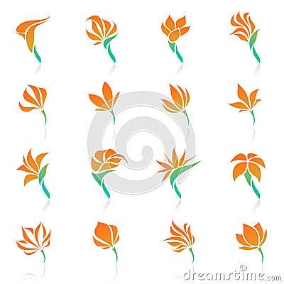 Tropical flowers. Vector logo template set.
