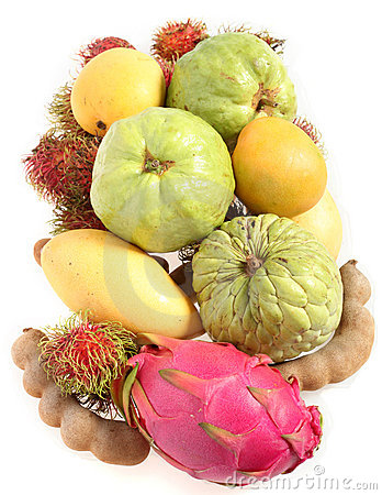 Tropical fruits from above