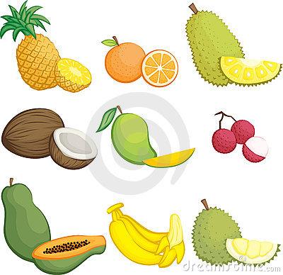 Free Tropical Fruits Icons Royalty Free Stock Image - 21855636