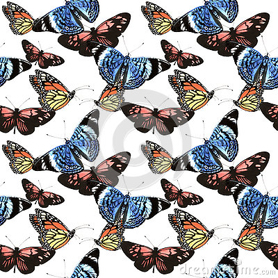 Free Tropical Hawaii Leaves Palm Tree And Butterflies Pattern In A Watercolor Style Isolated. Stock Photos - 80477123