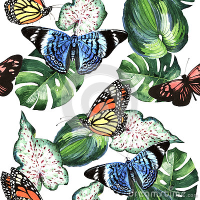 Free Tropical Hawaii Leaves Palm Tree And Butterflies Pattern In A Watercolor Style Isolated. Royalty Free Stock Photography - 80477467