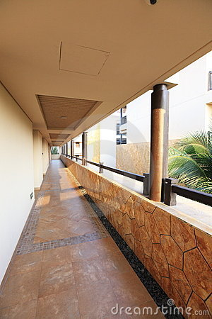 Tropical hotel corridor