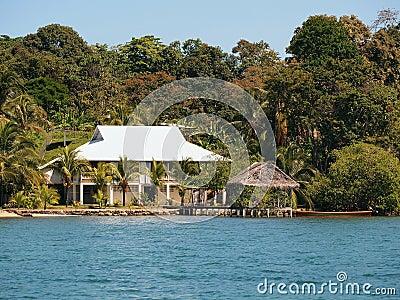 Tropical house on the beach with palapa
