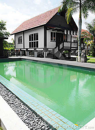 Tropical house and swimming pool