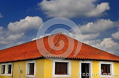 Tropical house under blue sky