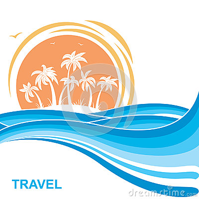 Free Tropical Island And Sun.Sea Waves Background Illustration Royalty Free Stock Photo - 97687865