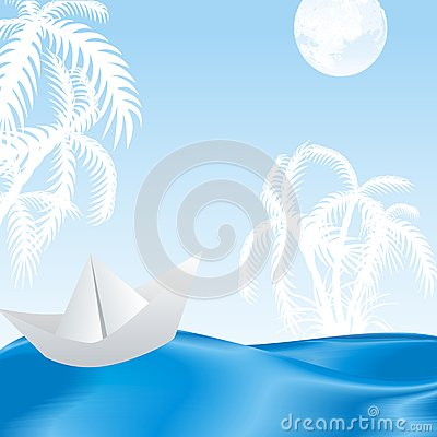 tropical island in the azure waves