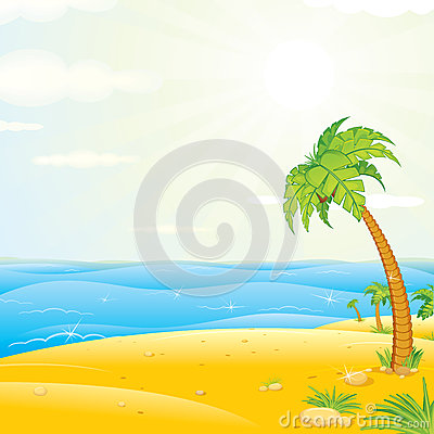 Free Tropical Island Beach. Vector Illustration Stock Image - 29602261