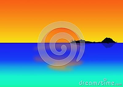 Tropical island at dusk