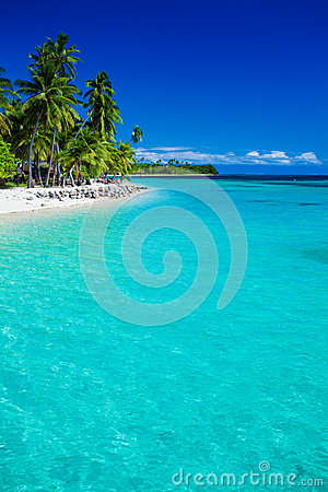 Tropical island in Fiji with sandy beach