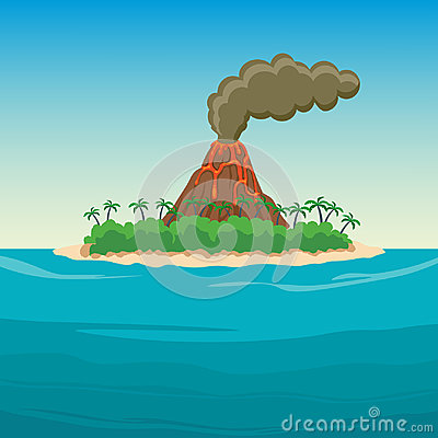 Free Tropical Island In Ocean With Palm Trees And Volcano. Stock Photography - 95612442