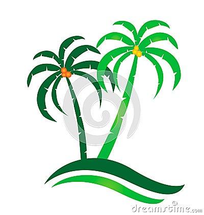 Tropical island logo