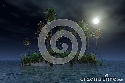 Tropical island by night