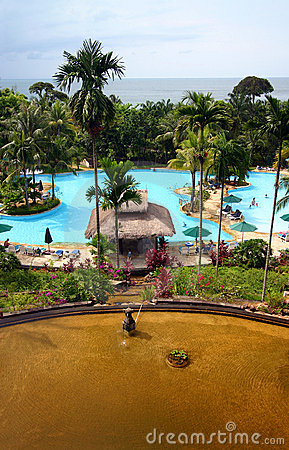 Tropical island resort hotel pool & landscaping