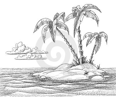 Tropical island sketch