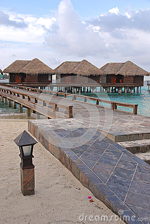 Free Tropical Island Vacation In Traditional Wooden Overwater Bungalow With High Accessibility Royalty Free Stock Image - 39752356
