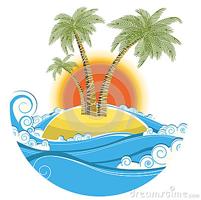 Free Tropical Island.Vector Symbol Seascape With Sun Is Stock Image - 33193381