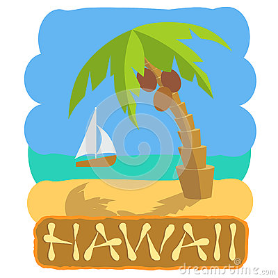 Free Tropical Island With Palm Tree And Boat. Vector Illustration Icon For Traveling. Stock Photo - 90751690