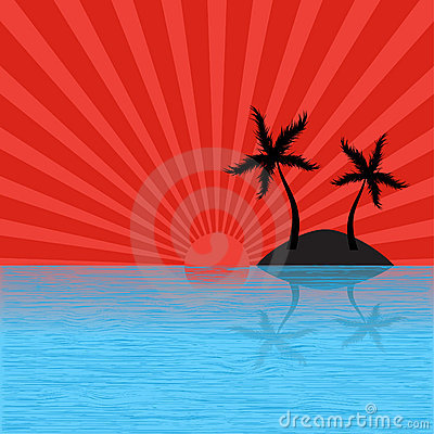Free Tropical Island With Sun Burst Stock Image - 5268271