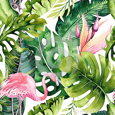 Free Tropical Isolated Seamless Pattern With Flamingo. Watercolor Tropic Drawing, Rose Bird And Greenery Palm Tree, Tropic Royalty Free Stock Photos - 91855328