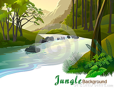 Tropical jungle trees and river gushing