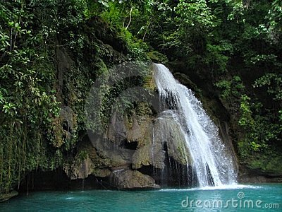 Tropical Kawasan Falls in the Philippines.