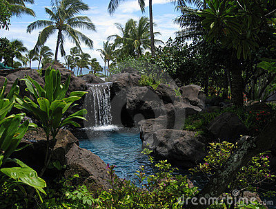 Tropical lagoon and waterfall