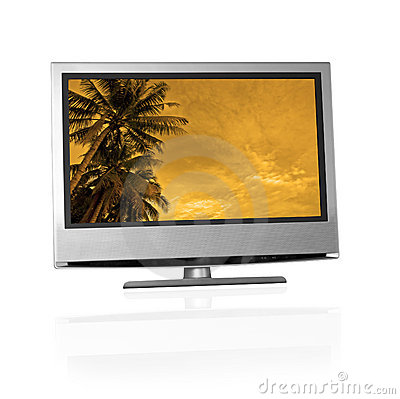 Free Tropical Landscape On Flat Screen Tv Royalty Free Stock Photo - 1351925
