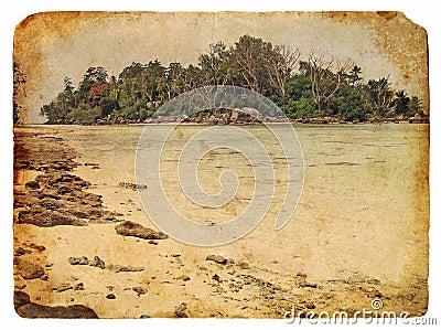 Tropical landscape, Seychelles. Old postcard