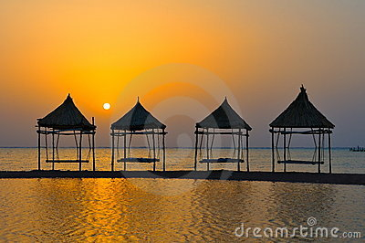 Tropical landscape at sunrise