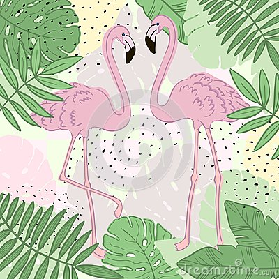 Free Tropical Leaves And Flamingo Summer Banner, Graphic Background, Exotic Floral Invitation, Flyer Or Card. Royalty Free Stock Photo - 110059475