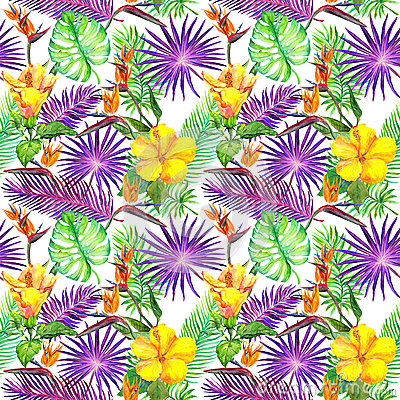 Free Tropical Leaves, Exotic Flowers. Seamless Jungle Pattern. Watercolor Stock Photos - 91104883