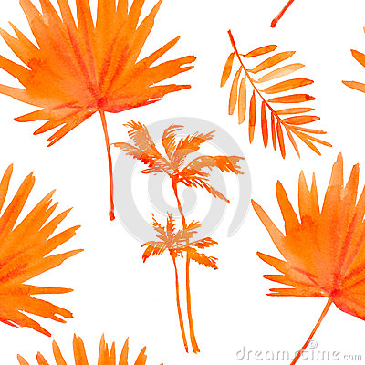 Free Tropical Leaves. Seamless Watercolor Background. Stock Photo - 50520060