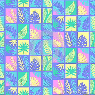 Tropical leaves summer seamless pattern Vector Illustration