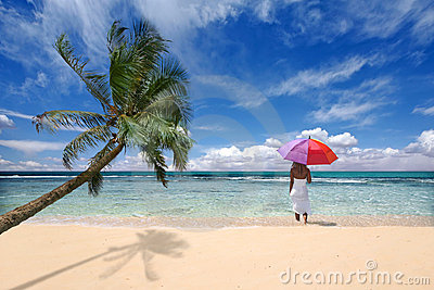 Tropical Location With Palm Tree and Woman