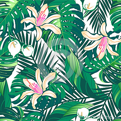Free Tropical Lush Flowers Seamless Pattern On A White Background Royalty Free Stock Images - 40713779