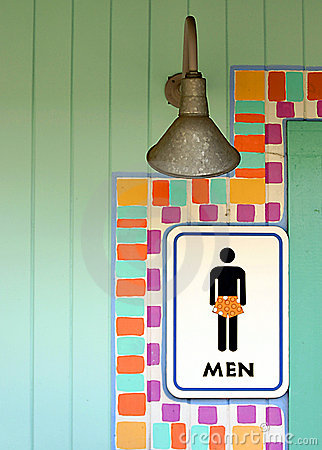 Tropical mens room sign