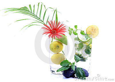 Tropical mojito drink