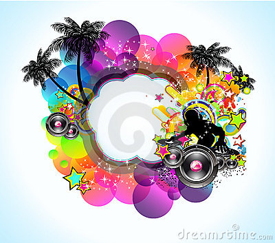 Tropical Music Disco Event Background for Flyers