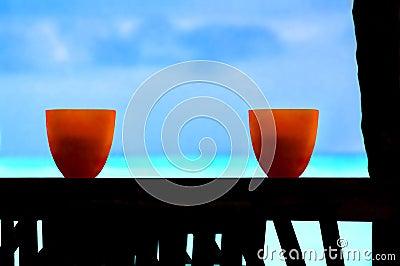 Tropical ocean view ocean sea palm tree sky art bowls