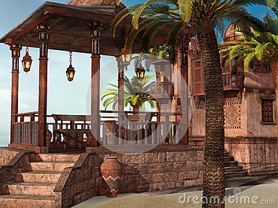 Tropical palace on the beach