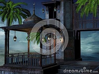 Tropical palace at night