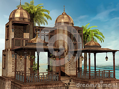 Tropical palace with palm trees