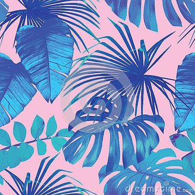 Tropical palm, banana leaves in blue style Vector Illustration