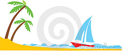 Tropical palm with boat in ocean