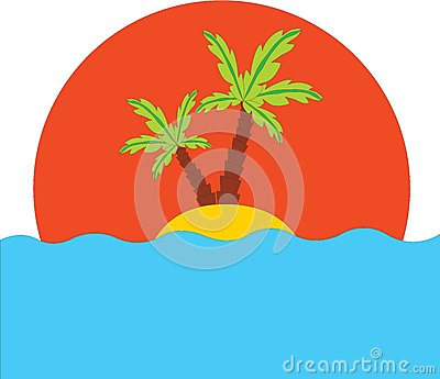 Tropical palm on island in ocean