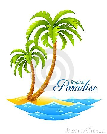 Tropical palm on island with sea waves