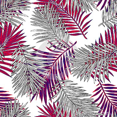 Tropical palm leaves, jungle leaves seamless vector floral pattern background. Stock Photo