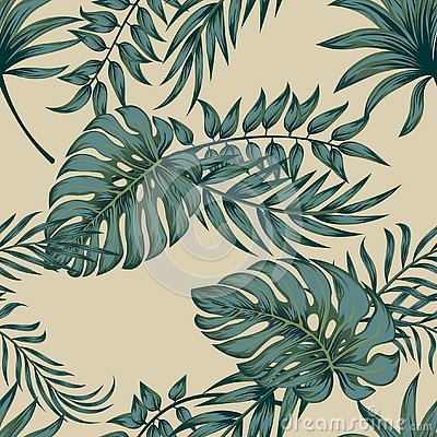 Tropical palm leaves, jungle leaves seamless vector floral pattern background. Vector Illustration